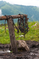 Horse equipment in mountain village