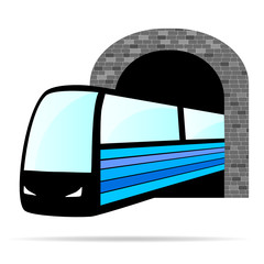 train from the tunnel vector illustration