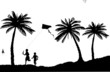 Silhouette of running boys with flying kite on the beach