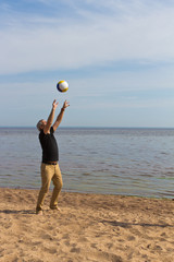 beach volleyball at the sea
