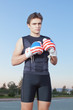 A young boxer with gloves of the United States of America.