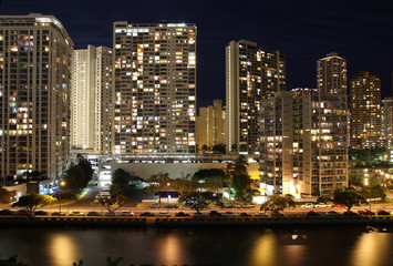 Skyscrapers and partial skyline of Honolulu, Hawaii, at night