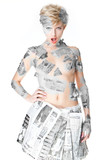 Woman wearing newspaper fashion