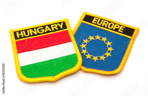 hungarian and european flags