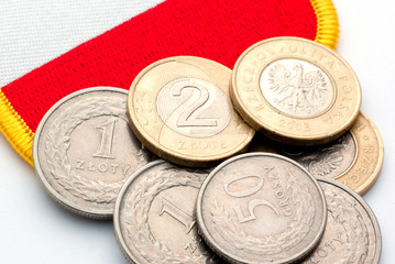 polish coins close-up