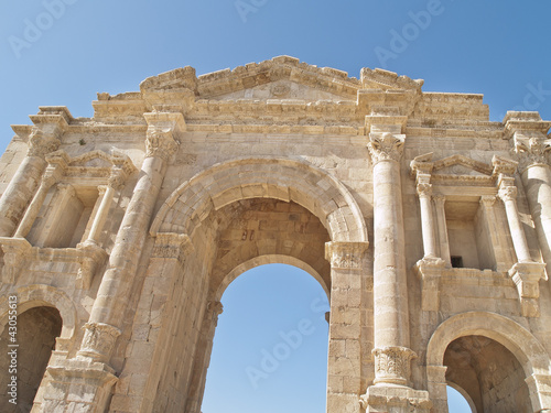 Hadrian's Gate in the Greco-Roman city of Jerash, Jordan.