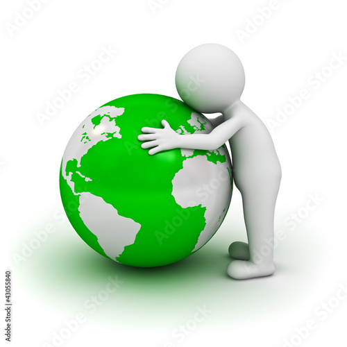 Love the earth concept, 3d man hugging green globe