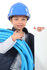 Little girl dressed as electrician