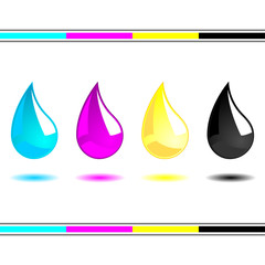 CMYK drops isolated over white background