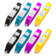 Ink cartridges with different colors over white background