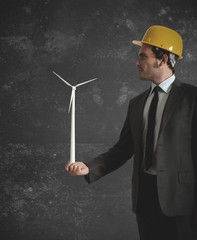 Businessman and wind turbine