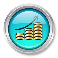 Vector Rising Gold Coins Icon Glossy Metallic Button. EPS10.