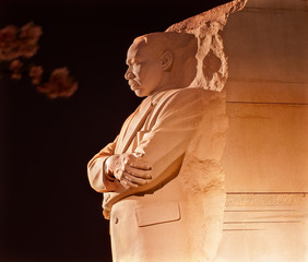 Martin Luther King Memorial Cherry Blossoms Evening Washington