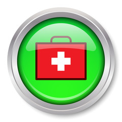Vector First Aid Kit Icon Glossy Metallic Button. EPS10.