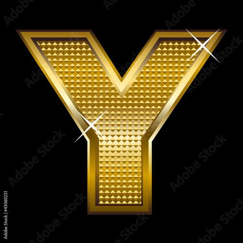 Golden font type letter Y