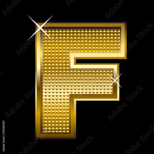 Golden font type letter F