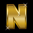 Golden font type letter N