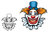 Smiling circus clown in hat poster
