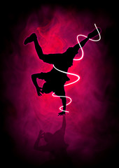 Silhouette illustration of a man figure break dancing
