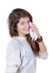 girl smiling and crying with shawl