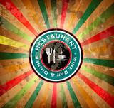Quality vintage label for premium Restaurant