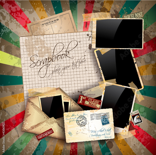 Vintage scrapbook composition with old style