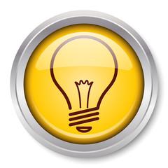 Vector Light Bulb Icon Glossy Metallic Button. EPS10.