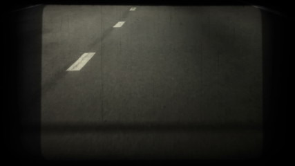 Road line. Nostalgic retro video, HD