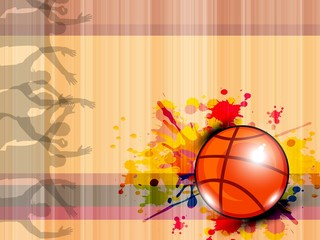 Illustration of Basketball on grungy abstract background with te