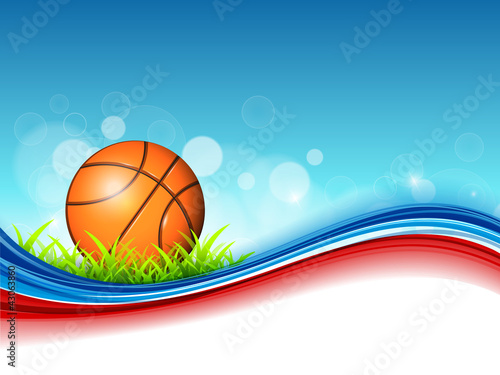 Illustration of Basketball on green grass and colorful wave back