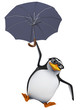 3d Penguin in glasses flies with umbrella
