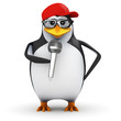 3d Penguin in baseball cap with microphone