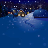 Fototapety Vector of winter landscape. Merry Christmas!