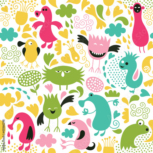 Cotton fabric seamless pattern, funny alien