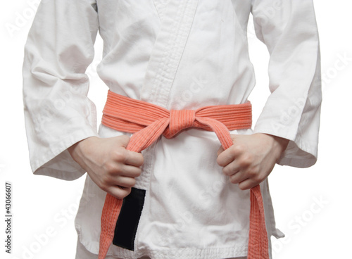 White kimono and an orange belt
