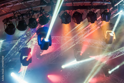 colorful spotlights on an entertainment venue stage
