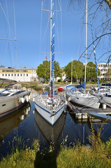 Sailboats in the port of Vannes in France