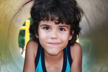 Close portrait of a beautiful little boy