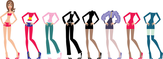 Young beautiful paper dolls with clothes set