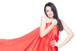 Lady in red with luxury hair, white background