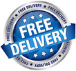 "Button Banner ""Free Delivery"" Blue/Silver"