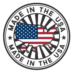 A circular lettering made in the U.S.A. vector decal or stamp