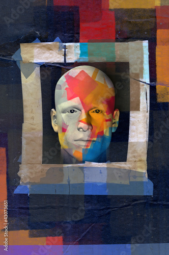 colorful male portrait grunge frame