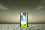 Fototapety Door open to the new world, for environmental concept and idea