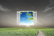Window open to the new world, for environmental concept and idea