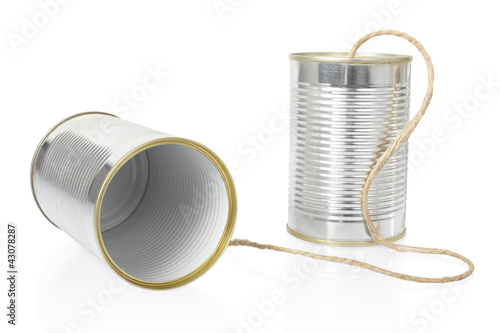 Tin can phone on white, clipping path included