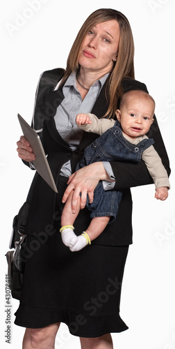 Exhausted Working Mother with Baby