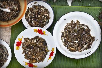Insectes comestibles au marché de Luang Prabang, Laos