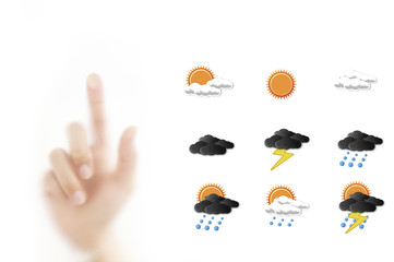 Weather forecast icon with hand for point forecasting