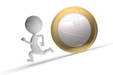 3d human chased by coin